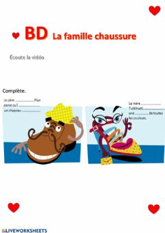 Interactive worksheet La famille chaussures