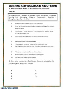 Interactive worksheet Listening and vocabulary about crimes