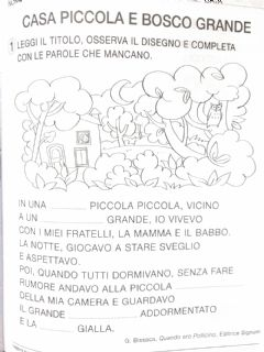 Interactive worksheet Casa piccola bosco grande