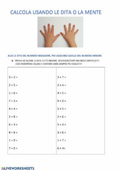Interactive worksheet Addizioni con le dita