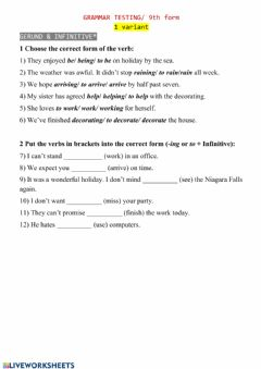 Interactive worksheet Gerund vs Infinitive Test (1)