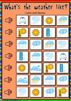 Interactive worksheet What's the weather like? - listening and matching