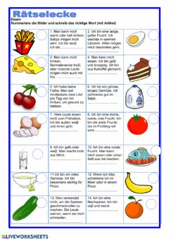 Interactive worksheet Essen-Wortschatz
