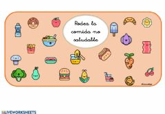 Interactive worksheet Los alimentos sanos y no saludables