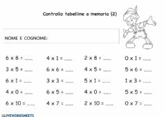 Interactive worksheet Tabelline fino al 6