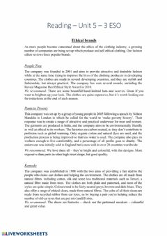 Interactive worksheet Reading - Ethical brands
