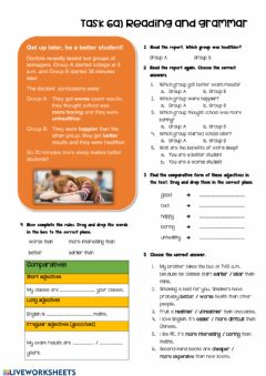Interactive worksheet Comparative adjectives reading