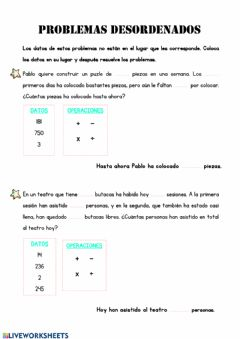 Interactive worksheet Problemas desordenados