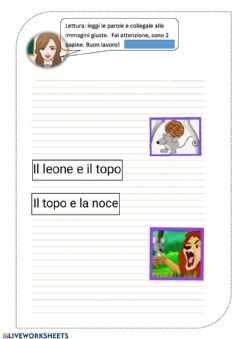 Interactive worksheet Lettura di parole