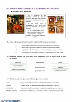 Interactive worksheet Los grupos sociales en la Edad Media