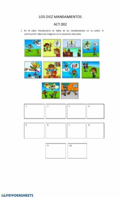 Interactive worksheet Los mandamientos