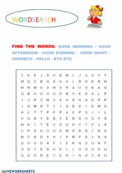 Interactive worksheet Wordsearch