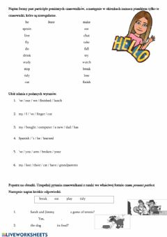 Interactive worksheet Present Perfect2 Steps plus 6 unit 7