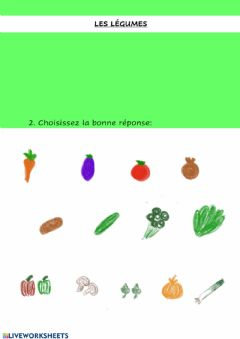 Interactive worksheet Les légumes