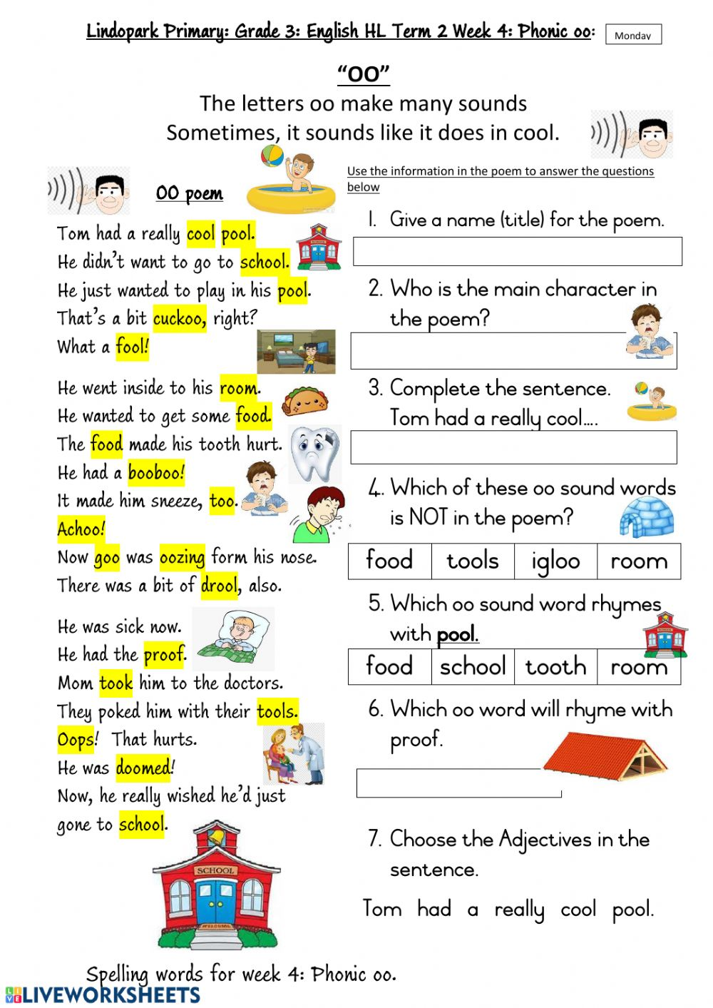 Grade 3 Hl English Term 2 Week 4 Phonic Oo Worksheet 1 Monday Worksheet