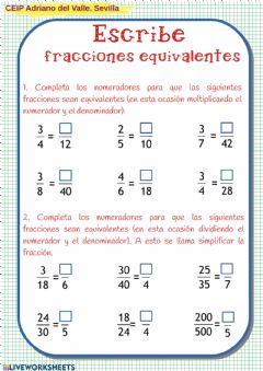 Interactive worksheet Fracciones equivalentes3