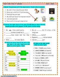 Interactive worksheet Test for the 4th graders May 2020