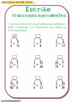 Interactive worksheet Fracciones equivalentes4