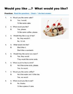 Interactive worksheet Would you like …?  What would you like?