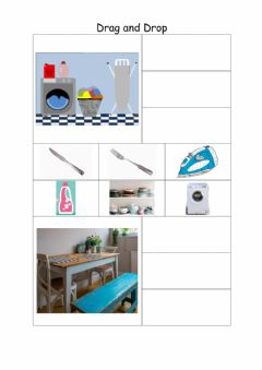 Interactive worksheet Laundry & Dining Drag & Drop