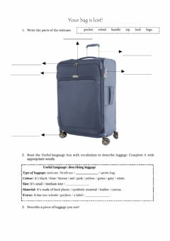 Ficha interactiva Describe your suitcase