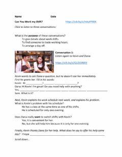 Interactive worksheet Can You Work My Shift?