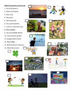 Interactive worksheet Spring bucket list review