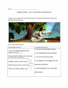 Interactive worksheet Jesus in the Garden