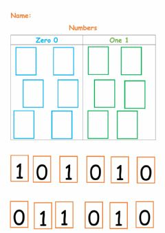 Interactive worksheet Numbers 0,1