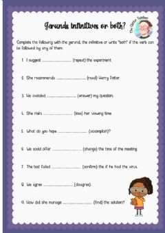 Interactive worksheet Gerunds, infinitives or both?