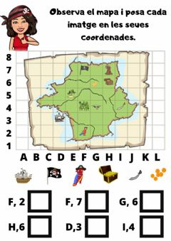Interactive worksheet Coordenades pirates