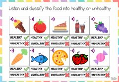 Interactive worksheet Healthy or unhealthy food
