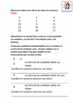 Interactive worksheet Números pares e impares.