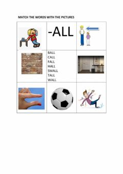 Ficha interactiva -all worksheet matching words with pictures colour version
