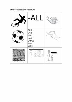 Ficha interactiva -all worksheet matching words with pictures black and white version