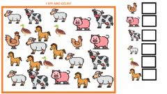 Interactive worksheet I spy and count (farm animals)