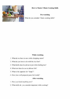 Interactive worksheet Basic Cooking Skills