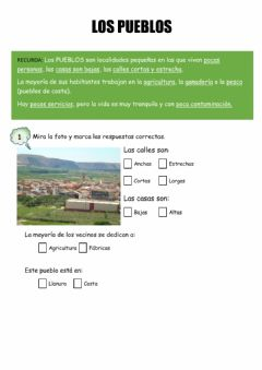 Interactive worksheet Los pueblos