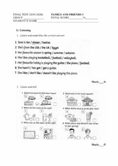Interactive worksheet Family and Friends 3