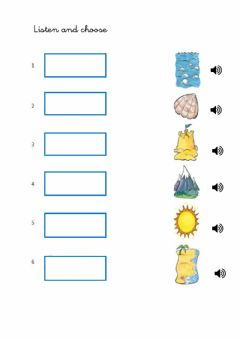Interactive worksheet Places in the beach