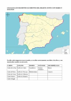 Interactive worksheet Relieve de costa: cabos y golfos de España