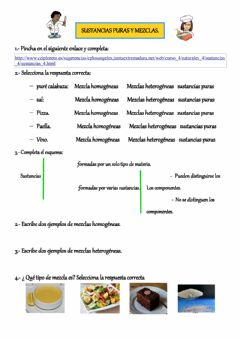 Interactive worksheet Sustancias puras y mezclas.