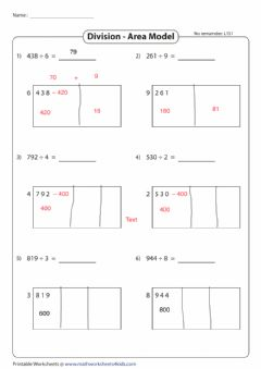 Interactive worksheet Division using area model