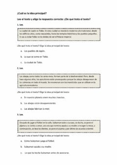 Interactive worksheet Idea principal del texto