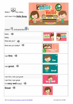 Interactive worksheet Hello song