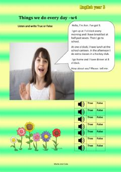 Interactive worksheet Things we do every day-w4
