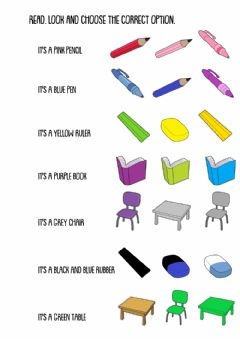 Ficha interactiva School Objects