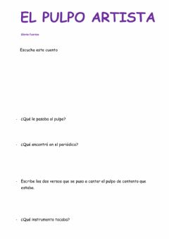 Interactive worksheet Cuento: el pulpo artista