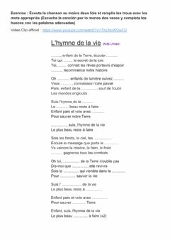 Interactive worksheet Chanson L-hymne de la Vie (Kids United)