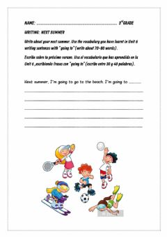 Interactive worksheet Writing going to